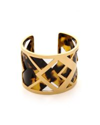Tory Burch - Metallic Aslin Resin Cuff Bracelet Tortoiseshiny Brass - Lyst