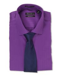 Kenneth Cole - Purple Non-Iron Regular Fit Textured Stripe L/S Dress Shirt for Men - Lyst