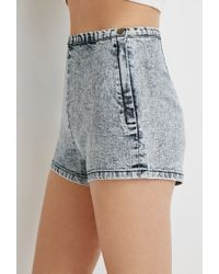 Forever 21 | Blue Acid Wash Flat-front Shorts | Lyst