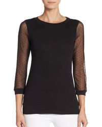 French Connection - Black Dotty Ditto Sheer-sleeve Top - Lyst