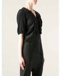 Marni - Black Ruffled Placket T-Shirt - Lyst