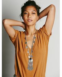 Free People - Metallic Womens Ebony Coin Layering Necklace - Lyst