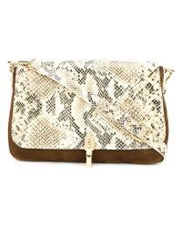 Elizabeth and James - Brown Snake-Print Leather Shoulder Bag  - Lyst