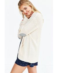 BDG | Natural Cayla Elbow Patch Cardigan | Lyst