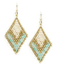 Panacea | Blue Beaded Woven Drop Earrings | Lyst
