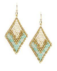 Panacea - Blue Beaded Woven Drop Earrings - Lyst