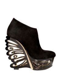 Le Silla | Black 150mm Suede Butterfly Wedges | Lyst
