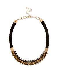River Island | Metallic Gold Tone Gem Woven Statement Necklace | Lyst