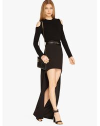 Halston | Black Hi Lo Satin Skirt | Lyst