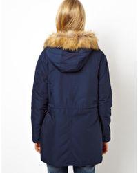 ASOS - Blue Nylon Parka with Faux Fur Trim Hood - Lyst