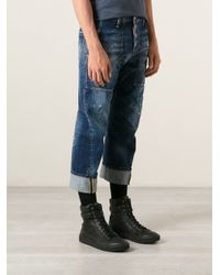 DSquared² - Blue Distressed Straight Turn-Up Jeans for Men - Lyst