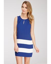 Forever 21 | Blue Contemporary Colorblock-striped Shift Dress | Lyst