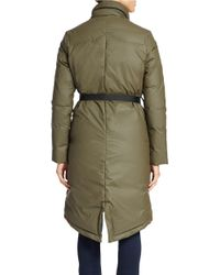 Hunter | Green Stand Collar Belted Puffer Jacket | Lyst