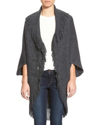 Hinge - Gray Fringe Wearable Blanket Cape - Lyst