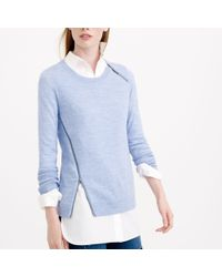 J.Crew - Blue Merino Asymmetrical Zip Sweater - Lyst