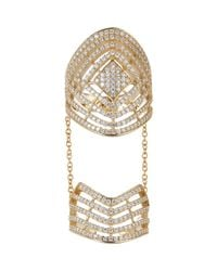 Fallon | Metallic Sterling Silver Pave Labyrinth Double Ring | Lyst