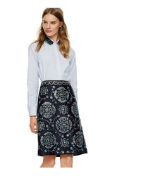 Tory Burch - Blue Poplin Button-down Shirt With Feather Collar - Lyst