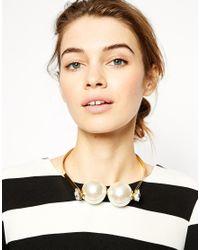 ASOS - Metallic Big Faux Pearl Choker Necklace - Lyst