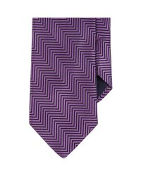 Barneys New York - Purple Chevron Neck Tie for Men - Lyst