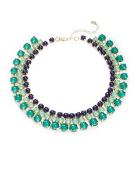 Cara | Green Beaded Collar Necklace | Lyst