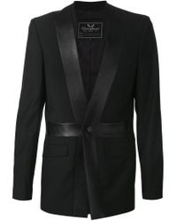 Unconditional - Black Leather Trim Blazer for Men - Lyst