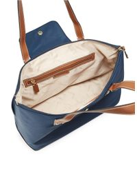 Calvin Klein | Blue Faux Leather-accented Nylon Tote | Lyst