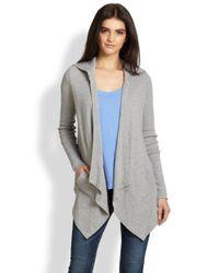 Splendid | Gray Draped Hooded Thermal Cardigan | Lyst