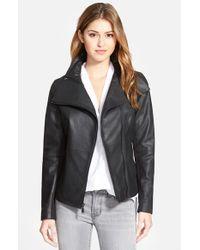 T Tahari - Black 'angelina' Zip Collar Leather Moto Jacket - Lyst