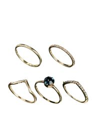 ASOS - Metallic Multi Stone Ring Pack - Lyst