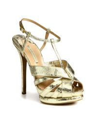 Nicholas Kirkwood | Laceprint Metallic Leather Platform Sandals | Lyst