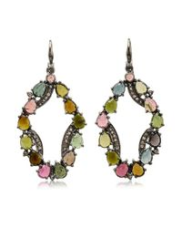 Bavna | Multicolor Sterling Silver Earrings With Pave Diamonds & Multi Tourmaline | Lyst