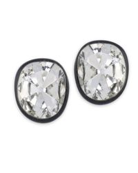 Kenneth Jay Lane | Metallic Black Plated Crystal Clip Earring | Lyst
