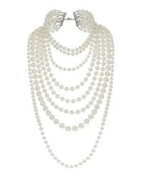 TOPSHOP - White Multi Row Pearl Necklace - Lyst