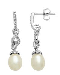 Lord & Taylor | Sterling Silver Pearl And White Topaz Drop Earrings | Lyst