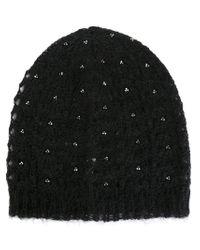 Saint Laurent - Black Loose Knit Beanie - Lyst