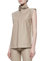 Helmut Lang - Natural Tilt Leatherknit Turtleneck Top - Lyst