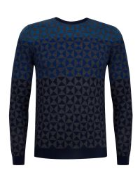 Ted Baker | Blue Zano Ombre Pattern Wool Jumper for Men | Lyst