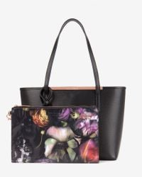 Ted Baker | Black Crosshatch Leather Shopper Bag | Lyst