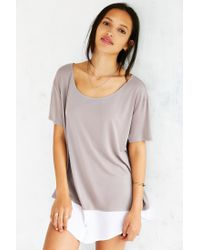 Silence + Noise | Gray Two For One Contrast Top | Lyst