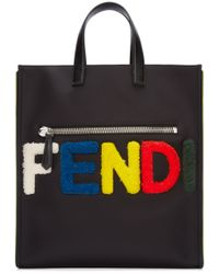 Fendi - Black Shearling-Logo Tote - Lyst
