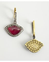 Amrapali | Red 'Lotus Collection' Diamond & Ruby Drop Earrings | Lyst