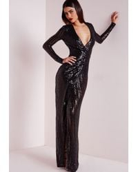 Missguided | Premium Sequin Stripe Wrap Maxi Dress Black | Lyst