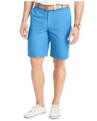 "Izod | Blue Solid Flat-front 7"" Shorts for Men | Lyst"