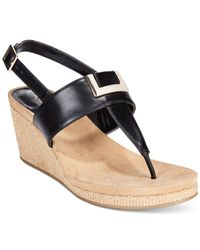 Style & Co. | Black Style&co. Maryana Wedge Thong Sandals, Only At Macy's | Lyst
