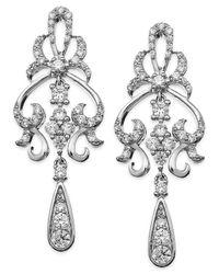 Wrapped in Love - Metallic ™ Diamond Fancy Drop Earrings In 14k White Gold (1 Ct. T.w.) - Lyst