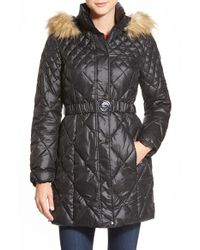 Guess - Black Faux Fur Trim Belted Quilted Coat - Lyst