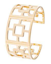 Trina Turk | Metallic Patterned Cuff Bracelet | Lyst