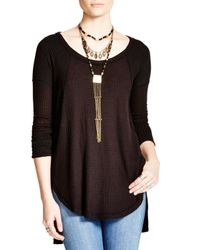 Free People - Black Ventura Thermal Tunic Top - Lyst