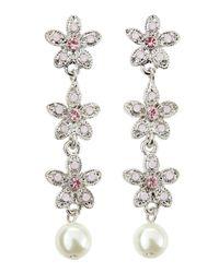 R.j. Graziano - Pearly Crystal Flower Drop Earrings Pink - Lyst