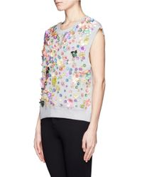 MSGM - Gray Floral Embellished Cap Sleeve Top - Lyst